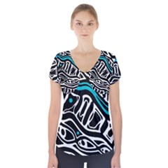 Blue, Black And White Abstract Art Short Sleeve Front Detail Top by Valentinaart