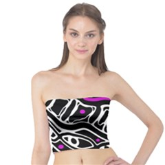 Purple, Black And White Abstract Art Tube Top by Valentinaart