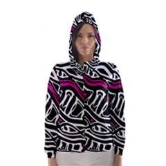 Magenta, Black And White Abstract Art Hooded Wind Breaker (women) by Valentinaart