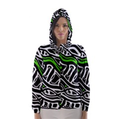 Green, Black And White Abstract Art Hooded Wind Breaker (women)