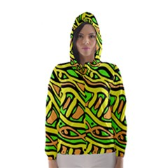 Yellow, Green And Oragne Abstract Art Hooded Wind Breaker (women) by Valentinaart
