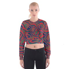 Red And Green Abstract Art Women s Cropped Sweatshirt by Valentinaart