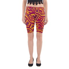Orange Abstract Art Yoga Cropped Leggings by Valentinaart