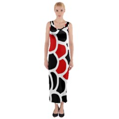 Red, Black And White Abstraction Fitted Maxi Dress by Valentinaart