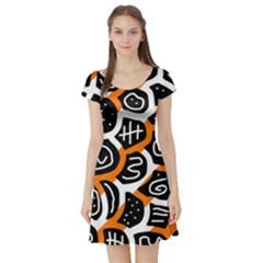 Orange Playful Design Short Sleeve Skater Dress by Valentinaart