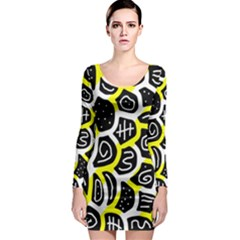 Yellow Playful Design Long Sleeve Bodycon Dress by Valentinaart