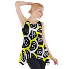 Yellow Playful Design Side Drop Tank Tunic by Valentinaart