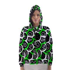 Green Playful Design Hooded Wind Breaker (women) by Valentinaart