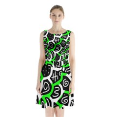 Green Playful Design Sleeveless Waist Tie Dress by Valentinaart