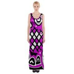 Magenta High Art Abstraction Maxi Thigh Split Dress by Valentinaart
