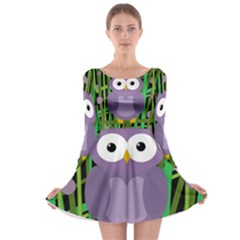 Purple Owl Long Sleeve Skater Dress by Valentinaart