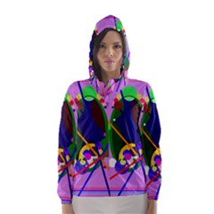Pink Artistic Abstraction Hooded Wind Breaker (women)