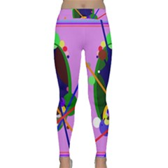 Pink Artistic Abstraction Yoga Leggings  by Valentinaart