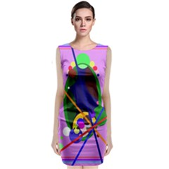 Pink Artistic Abstraction Classic Sleeveless Midi Dress by Valentinaart