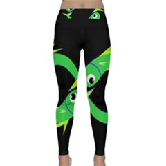 Green Fishes Yoga Leggings  by Valentinaart