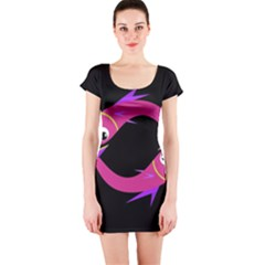 Magenta Fishes Short Sleeve Bodycon Dress by Valentinaart