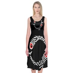 Abstract Fishes Midi Sleeveless Dress by Valentinaart