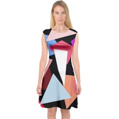 Colorful Geometrical Design Capsleeve Midi Dress by Valentinaart