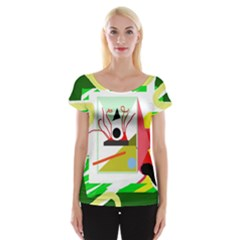 Green Abstract Artwork Women s Cap Sleeve Top by Valentinaart