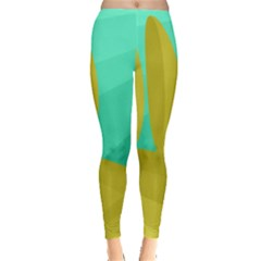 Green And Yellow Landscape Leggings  by Valentinaart