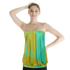 Green And Yellow Landscape Strapless Top by Valentinaart