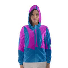 Pink And Blue Landscape Hooded Wind Breaker (women)
