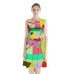 Colorful Abstraction By Moma Sleeveless Chiffon Waist Tie Dress by Valentinaart