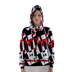 Red, Black And White Chaos Hooded Wind Breaker (women)