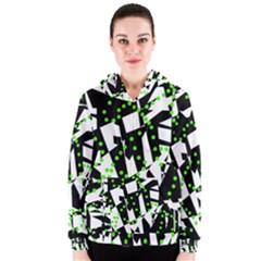 Black, White And Green Chaos Women s Zipper Hoodie by Valentinaart