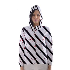Elegant Black, Red And White Lines Hooded Wind Breaker (women)