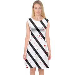 Elegant Black, Red And White Lines Capsleeve Midi Dress by Valentinaart