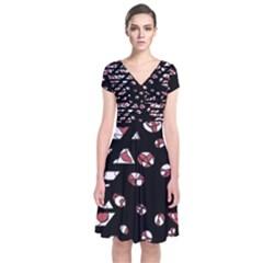 Red Freedam Short Sleeve Front Wrap Dress by Valentinaart
