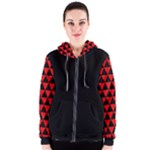 Red and Black Geometric Tribal Pattern  Women s Zipper Hoodie