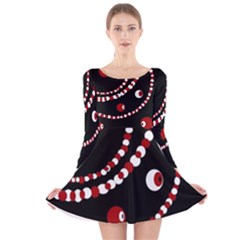 Red Pearls Long Sleeve Velvet Skater Dress by Valentinaart