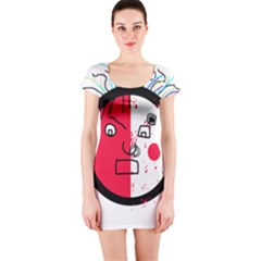 Angry Transparent Face Short Sleeve Bodycon Dress by Valentinaart