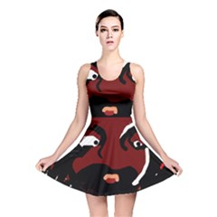 Abstract Face  Reversible Skater Dress by Valentinaart
