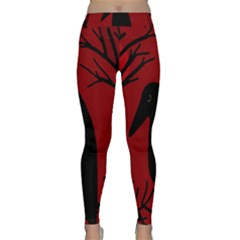 Halloween Raven   Red Yoga Leggings  by Valentinaart