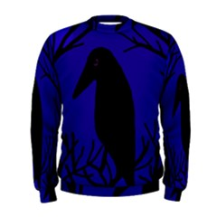 Halloween Raven   Deep Blue Men s Sweatshirt by Valentinaart