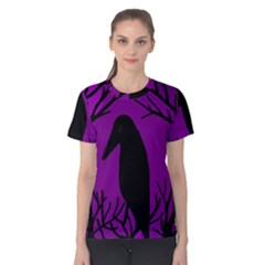 Halloween Raven   Purple Women s Cotton Tee by Valentinaart