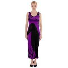 Halloween Raven   Purple Fitted Maxi Dress by Valentinaart