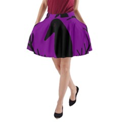 Halloween Raven   Purple A Line Pocket Skirt by Valentinaart