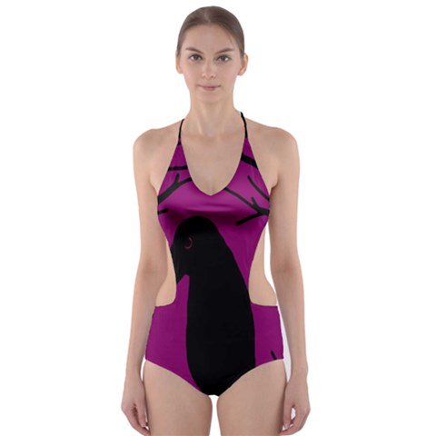 Halloween Raven - Magenta Cut-out One Piece Swimsuit