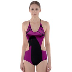 Halloween Raven   Magenta Cut Out One Piece Swimsuit by Valentinaart