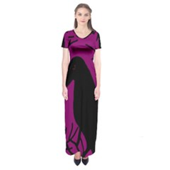 Halloween Raven - Magenta Short Sleeve Maxi Dress by Valentinaart