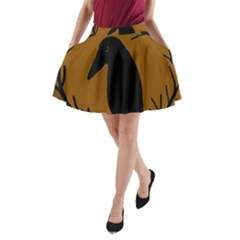 Halloween Raven   Brown A Line Pocket Skirt by Valentinaart