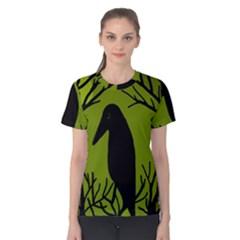Halloween Raven   Green Women s Cotton Tee by Valentinaart