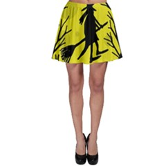 Halloween Witch   Yellow Moon Skater Skirt by Valentinaart