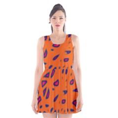 Orange Neon Scoop Neck Skater Dress by Valentinaart