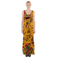 Yellow Neon Chaos Maxi Thigh Split Dress by Valentinaart