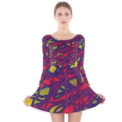 Abstract High Art Long Sleeve Velvet Skater Dress by Valentinaart